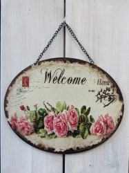Welkom to our Home ketting ovaal 25x20cm