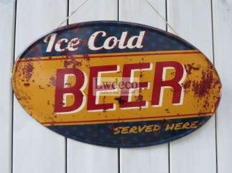 ovaal ice cold beer 56x33cm
